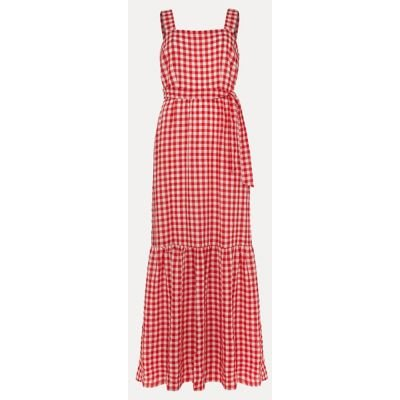 M&S Phase Eight Womens Checked Square Neck Maxi Waisted Dress - 8 - Red Mix, Red Mix