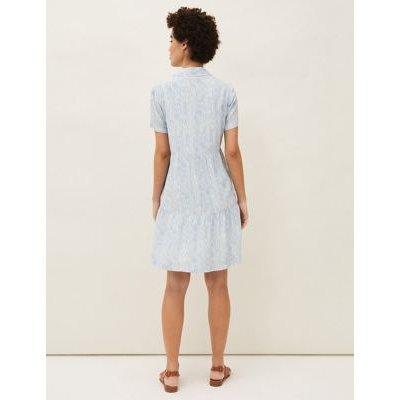 M&S Phase Eight Womens Printed Knee Length Shirt Dress - 8 - Blue Mix, Blue Mix