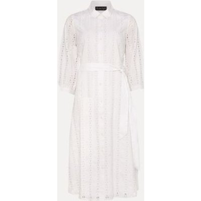 M&S Phase Eight Womens Pure Cotton Broderie Shirt Dress - 8 - White, White
