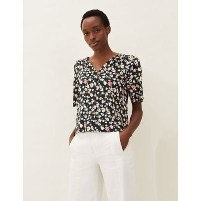 M&S Phase Eight Womens Floral V-Neck Regular Fit Short Sleeve Top - 10 - Black Mix, Black Mix
