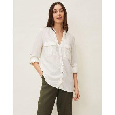 M&S Phase Eight Womens Linen V-Neck Longline Long Sleeve Blouse - 14 - White, White