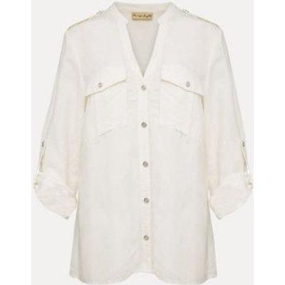 M&S Phase Eight Womens Linen V-Neck Longline Long Sleeve Blouse - 18 - White, White