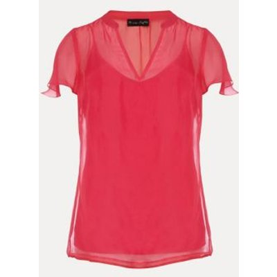 M&S Phase Eight Womens V-Neck Short Sleeve Blouse - 10 - Pink, Pink