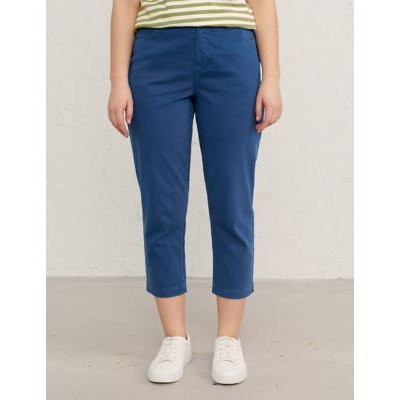 M&S Seasalt Cornwall Womens Cotton Slim Fit Cropped Trousers - 8 - Navy, Navy