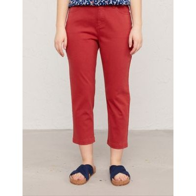 M&S Seasalt Cornwall Womens Cotton Slim Fit Cropped Trousers - 10 - Orange, Orange