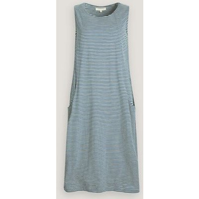 M&S Seasalt Cornwall Womens Pure Cotton Jersey Striped Midi Dress - 18 - Teal, Teal