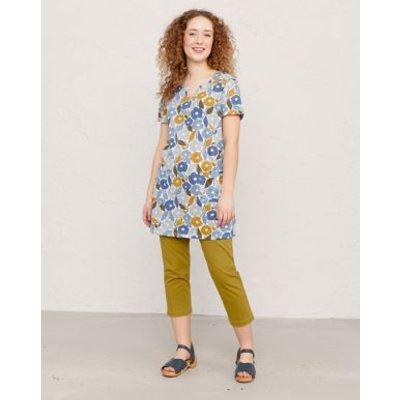 M&S Seasalt Cornwall Womens Organic Cotton Floral V-Neck Tunic - 8 - Blue, Blue