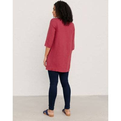 M&S Seasalt Cornwall Womens Pure Linen Round Neck Regular Fit Tunic - 10 - Pink, Pink