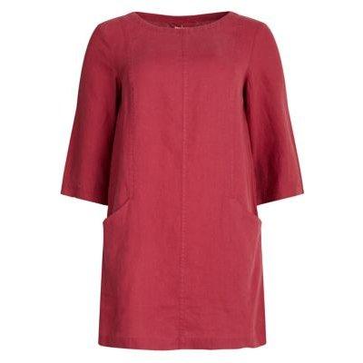M&S Seasalt Cornwall Womens Pure Linen Round Neck Regular Fit Tunic - 10 - Pink, Pink