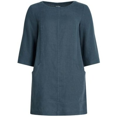 M&S Seasalt Cornwall Womens Pure Linen Round Neck Regular Fit Tunic - 8 - Blue, Blue