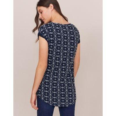 M&S White Stuff Womens Pure Cotton Geometric Embroidered Tunic - 8 - Blue/White, Blue/White
