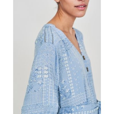 M&S White Stuff Womens Printed V-Neck Maxi Tiered Dress - Blue Mix, Blue Mix