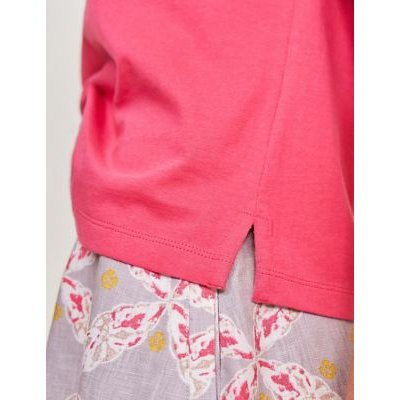M&S White Stuff Womens Pure Cotton Broderie Short Sleeve Top - 8 - Pink, Pink