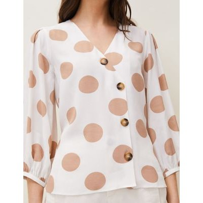 M&S Phase Eight Womens Polka Dot Blouson Sleeve Blouse - 10 - White, White