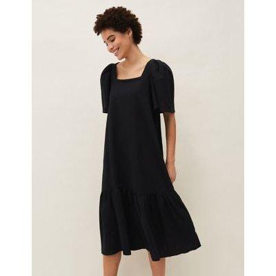 M&S Phase Eight Womens Linen Square Neck Midi Shift Dress - 8 - Black, Black