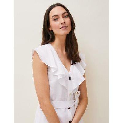 M&S Phase Eight Womens Linen V-Neck Belted Midaxi Shirt Dress - 18 - White, White