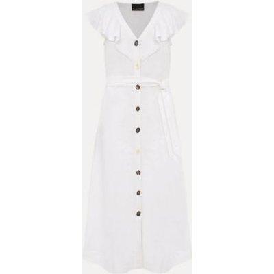 M&S Phase Eight Womens Linen V-Neck Belted Midaxi Shirt Dress - 10 - White, White