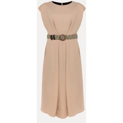 M&S Phase Eight Womens Belted Knee Length Shift Dress - 8 - Neutral, Neutral
