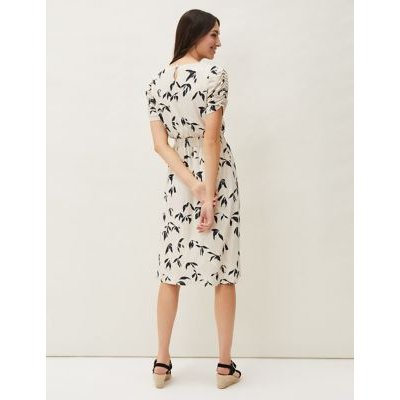 M&S Phase Eight Womens Jersey Floral Ruched Shirred Shift Dress - 10 - Neutral, Neutral