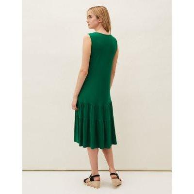 M&S Phase Eight Womens Jersey Round Neck Midaxi Slip Dress - 10 - Green, Green