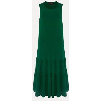 M&S Phase Eight Womens Jersey Round Neck Midaxi Slip Dress - 8 - Green, Green
