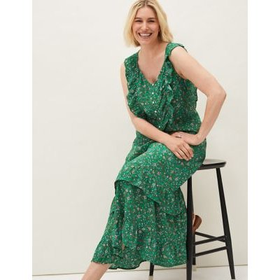 M&S Phase Eight Womens Floral Print Midaxi Tiered Skirt - 10 - Green Mix, Green Mix