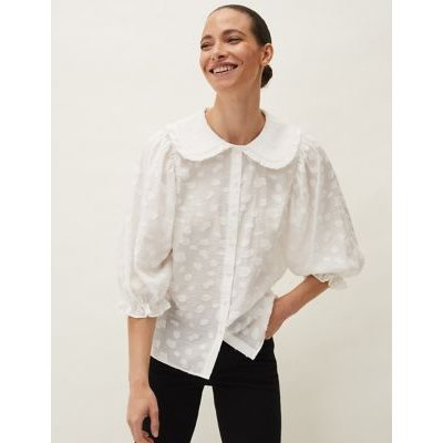 M&S Phase Eight Womens Textured Peter Pan Collar 3/4 Sleeve Blouse - 14 - Cream, Cream