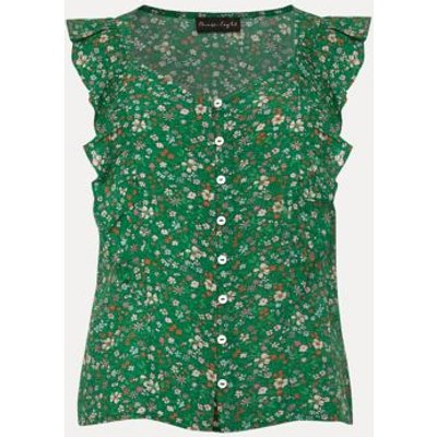 M&S Phase Eight Womens Ditsy Floral Frill Detail Sleeveless Blouse - 8 - Green Mix, Green Mix