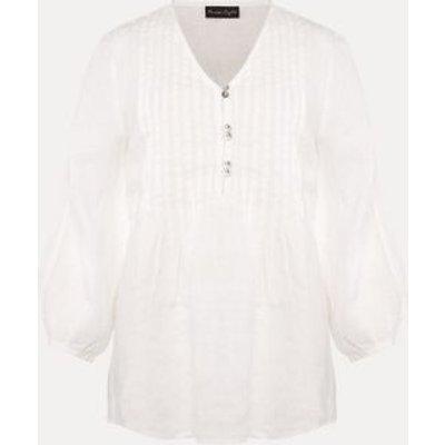 M&S Phase Eight Womens Pure Linen V-Neck Pintuck 3/4 Sleeve Blouse - 10 - White, White