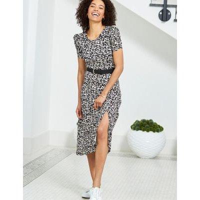 M&S Sosandar Womens Jersey Animal Print Midi Column Dress - 18 - Black Mix, Black Mix