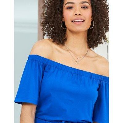 M&S Sosandar Womens Jersey Bardot Knee Length Dress - 8 - Blue, Blue