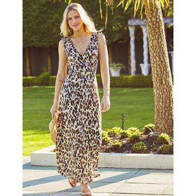 M&S Sosandar Womens Jersey Animal Print V-Neck Column Dress - 8 - Taupe Mix, Taupe Mix