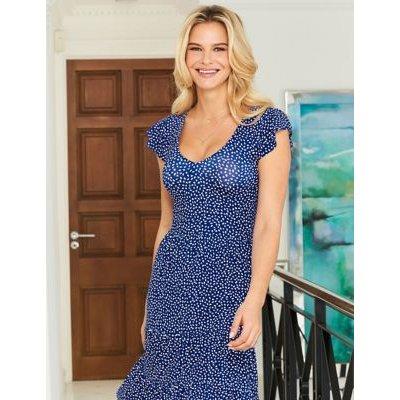 M&S Sosandar Womens Jersey Spot Print V-Neck Midi Dress - 8 - Blue Mix, Blue Mix