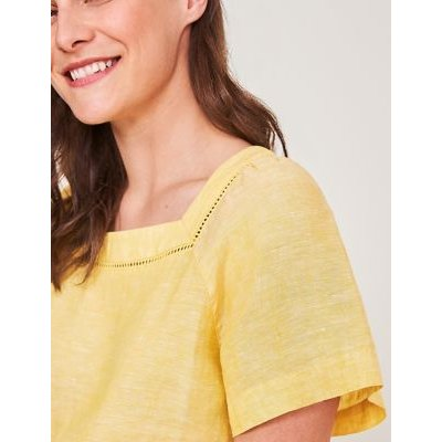 M&S White Stuff Womens Pure Linen Square Neck Short Sleeve Top - 8 - Yellow, Yellow,Pink,Pink Mix