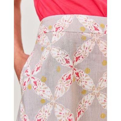 M&S White Stuff Womens Pure Linen Floral Midi A-Line Skirt - 8 - Stone Mix, Stone Mix