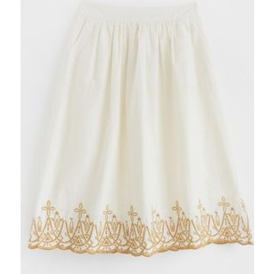 M&S White Stuff Womens Pure Cotton Embroidered Midi A-Line Skirt - 16 - Cream Mix, Cream Mix