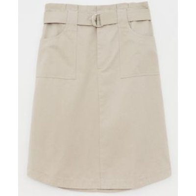 M&S White Stuff Womens Cotton Belted Utility Pencil Skirt - 8 - Grey, Grey