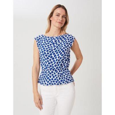 M&S Hobbs Womens Geometric Round Neck Sleeveless Blouse - 16 - Blue, Blue