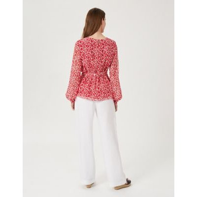 M&S Hobbs Womens Floral Long Sleeve Blouse - 16 - Red, Red