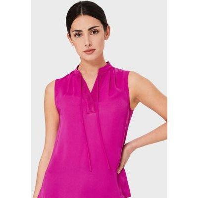 M&S Hobbs Womens Satin Tie Neck Sleeveless Blouse - 16 - Pink, Pink