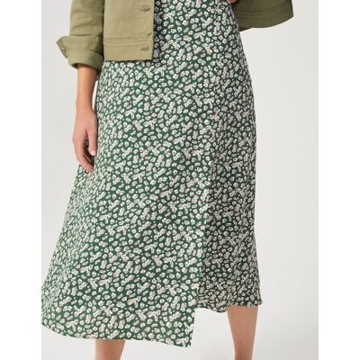 M&S Hobbs Womens Floral Split Front Midi A-Line Skirt - 6 - Green, Green