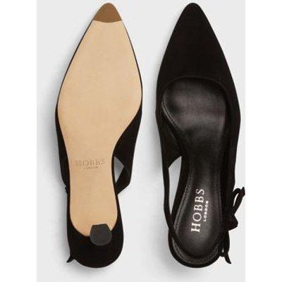 M&S Hobbs Womens Suede Kitten Heel Pointed Slingback Shoes - 37 - Black, Black