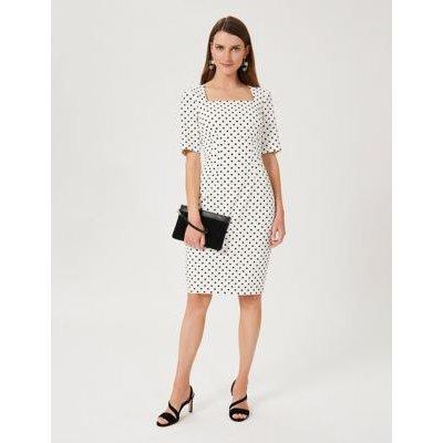M&S Hobbs Womens Cotton Polka Dot Square Neck Shift Dress - 8 - Ivory Mix, Ivory Mix