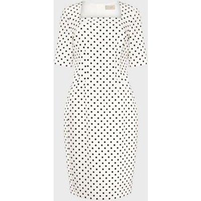 M&S Hobbs Womens Cotton Polka Dot Square Neck Shift Dress - 16 - Ivory Mix, Ivory Mix