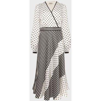 M&S Hobbs Womens Polka Dot Striped V-Neck Midi Swing Dress - 16 - Ivory Mix, Ivory Mix