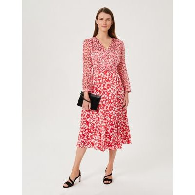 M&S Hobbs Womens Floral V-Neck Button Front Midi Tea Dress - 8 - Red Mix, Red Mix