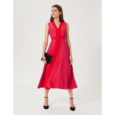 M&S Hobbs Womens V-Neck Sleeveless Midi Swing Dress - 8 - Red Mix, Red Mix