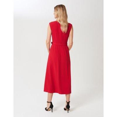 M&S Hobbs Womens Round Neck Belted Midi Swing Dress - 10 - Red, Red