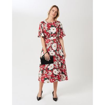 M&S Hobbs Womens Satin Floral Round Neck Midi Swing Dress - 6 - Red Mix, Red Mix