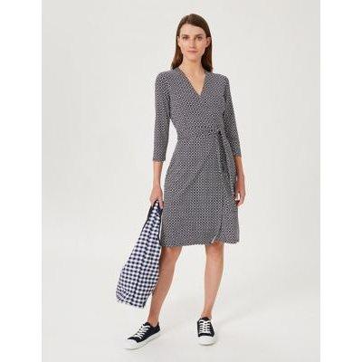 M&S Hobbs Womens Geometric V-Neck Knee Length Wrap Dress - 8 - Blue Mix, Blue Mix